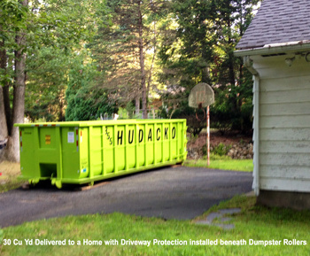 30 Cu Yd on Protected Driveway Roll off container rental service - Hudacko Waste Industries